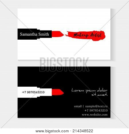 Set makeup artist vector photo free trial bigstock set of makeup artist business cards black and white vector template with makeup smears red reheart