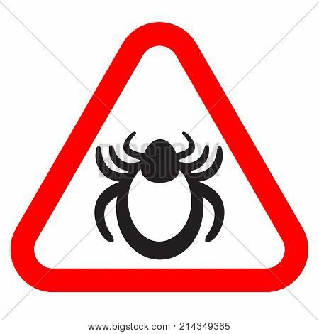 Tick bug vector. Danger encephalitis symbol. Isolated vector icon.