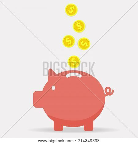 Piggy bank with coin vector illustration. Icon saving or accumulation of money investment. Icon piggy bank in a flat style isolated from the background. The concept of banking or business services.