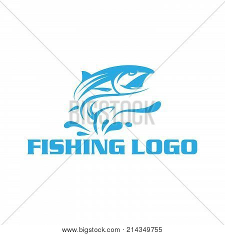 Fishing logo. Fishing club or fisher market and fishery industry isolated icon or sign of tuna or salmon fish on rod hook