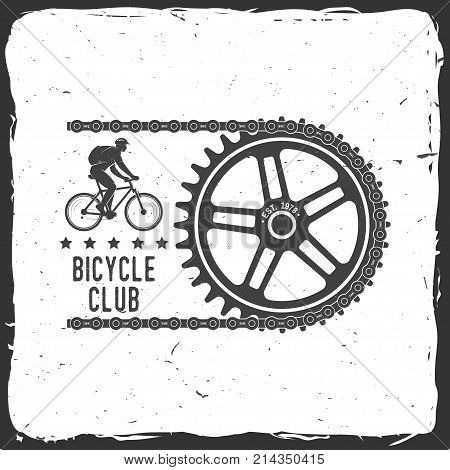 Bicycle Club. Vector illustration. Concept for shirt or logo, print, stamp or tee. Vintage typography design with cycling Gear and chain silhouette. Extreme sport