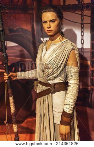 Berlin, Germany - March 2017:  Rey wax figure in Madame Tussauds museum