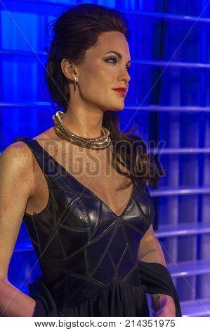 Berlin, Germany - March 2017: Angelina Jolie wax figure in Madame Tussauds museum