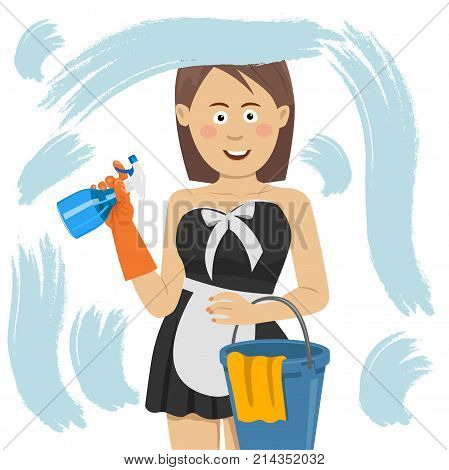 people, housework and housekeeping concept - happy woman in gloves cleaning window with cleanser spray, bucket with a rag at home