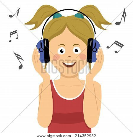 Modern teenager girl listening to the music in headphones