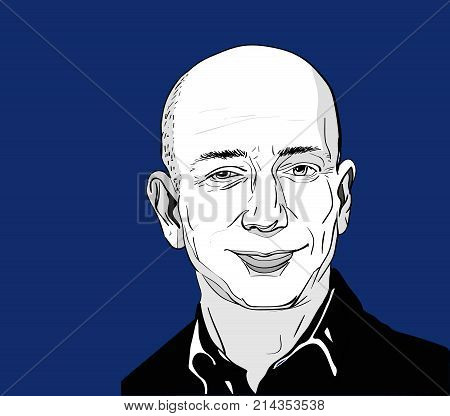 Nov, 2016: The famous entrepreneur, founder and the richest man Jeff Bezos vector portrait on a blue background.