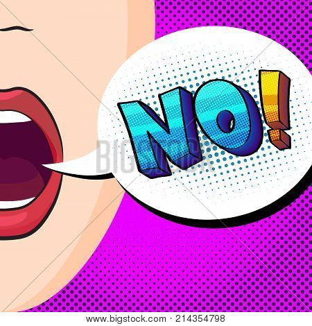 pop-art style vector illustration, beautiful mouth talking word No