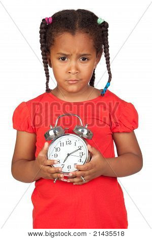 Sad Little Girl With A Silvered Clock