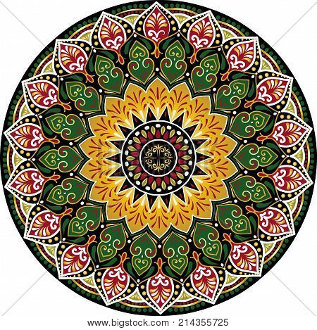 Drawing of a floral mandala with gold, green, black and red colors on a white background. Hand drawn tribal vector stock illustration