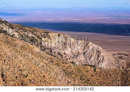 Barren rugged mountains overlooking the Mojave Desert taken in the Southern Sierra Nevada Mountains, CA