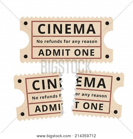 Ripped vintage paper ticket stub. Vintage tickets to the cinema on a white background. Vector illustration