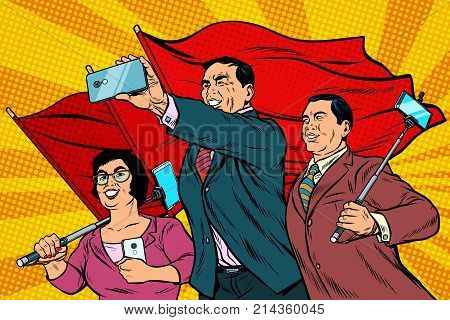 Chinese businessmen with smartphones and flags, poster socialist realism. Pop art retro vector illustration