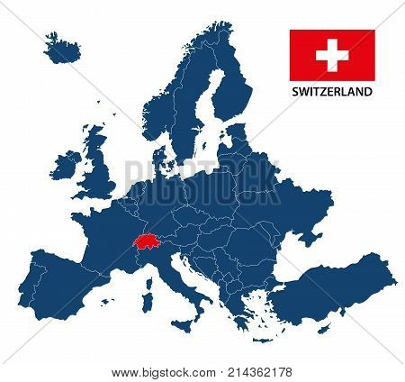 Vector illustration of a map of Europe with highlighted Switzerland and Swiss flag isolated on a white background