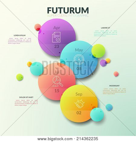 Four separate multicolored circles with thin line pictograms and date indication inside. Business planner concept. Modern infographic design template. Vector illustration for brochure, presentation.