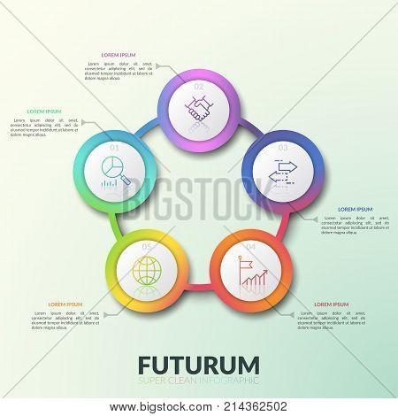 Flower petal diagram, 5 connected circular elements with numbers, thin line icons and text boxes. Round chart with five options. Modern infographic design layout. Vector illustration for presentation.