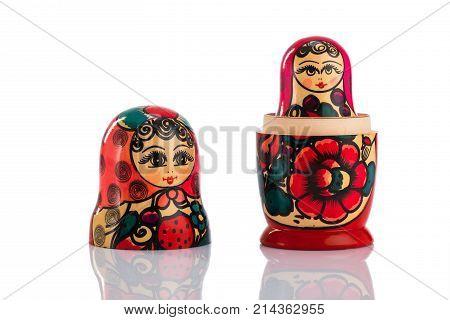 Matrioshka Or Babushkas Dolls On A White