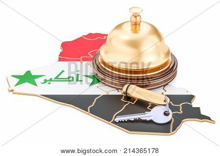Iraq booking concept. Iraqi flag with hotel key and reception bell 3D rendering