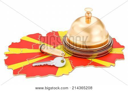 Macedonia booking concept. Macedonian flag with hotel key and reception bell 3D rendering