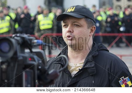 Kiev Ukraine - October 18 2017: People's deputy and well-known activist Semyon Semenchenko gives an interview before the Verkhovna Rada for protests against President Poroshenko