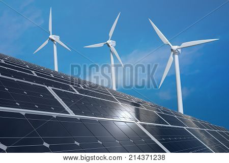 Solar Photovoltaic Panels And Wind Turbines. Alternative Energy