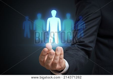 Businessman Is Selecting Best Employee Candidate. Recruitment An