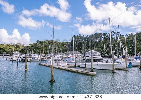 Sailing boats and motor launches berthed at Tutukaka Marina in Northland North Island New Zealand NZ