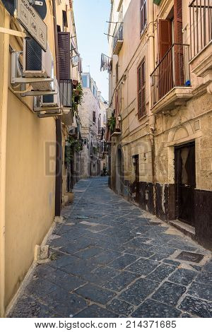 Characteristic narrow street in the old town of Bari Apulia Italy