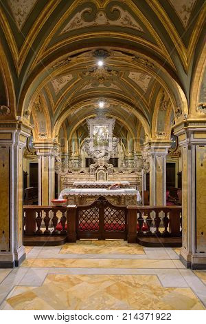Bari Italy - September 2 2016: Richly decorated crypt the Cathedral of San Sabino in Bari