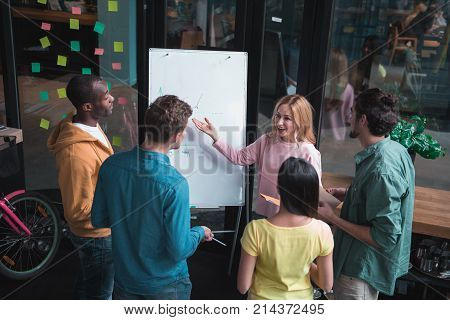 Lets do it. Top view of optimistic concentrated young business team is standing around flipchart. Cheerful attractive girl is pointing on board while exchanging ideas with her colleagues