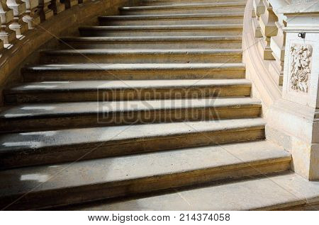 old stone staircase with stone banisters, steps