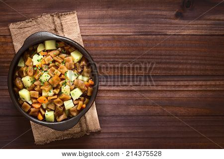 Traditional Chilean Estofado or Guiso de Cochayuyo (lat. Durvillaea antarctica) a vegan stew of bull kelp potato carrot and onion served with parsley in rustic bowl photographed overhead on dark wood with natural light