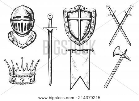 Middle age icons set in hand drawn engraving style. Knight crown sword crossed swords flag or banner ax.