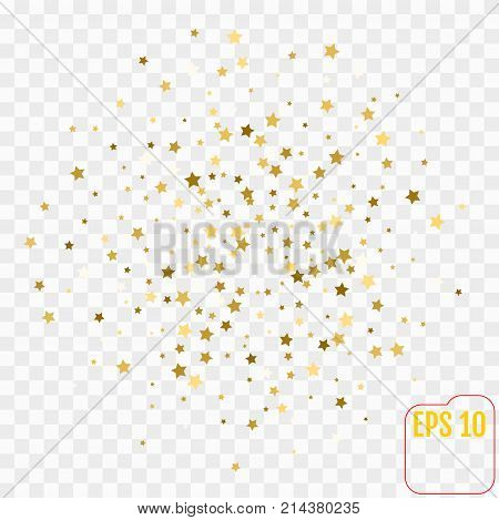 Gold Confetti celebration Falling golden abstract decoration for party birthday celebrate anniversary or event festive. Festival decor. Vector illustration