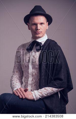 One Young Caucasian Man, Gay Gentelman, Wearing Lace Shirt, Hat, Studio Portrait