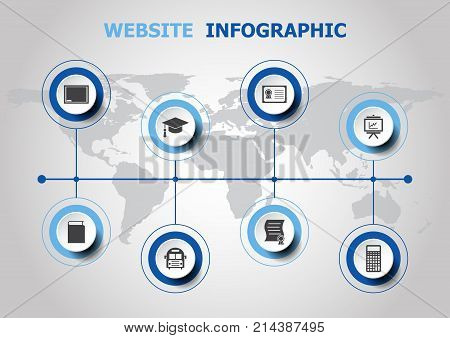 Infographic design with education icons, stock vector