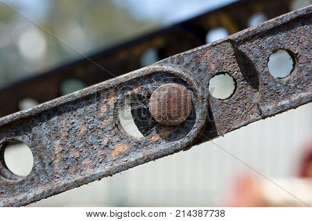 Abstract Textures And Shapes: Aging Metal Chain Plates And Bolts