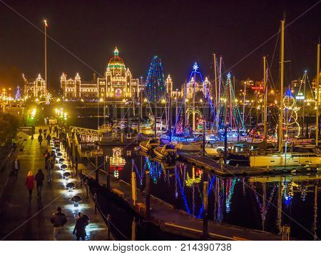 Legislative Building Of Victoria Bc, Capital Of British Columbia, Vancouver Island, Canada, Illumina