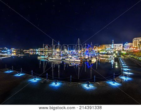 Inner Harbor Of Victoria Bc, Capital Of British Columbia, Vancouver Island, Canada,  With Boats Illu