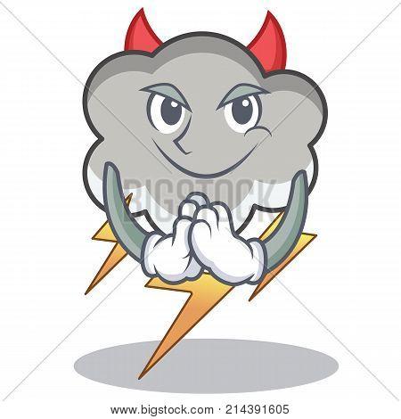 Devil thunder cloud character cartoon vector illustration
