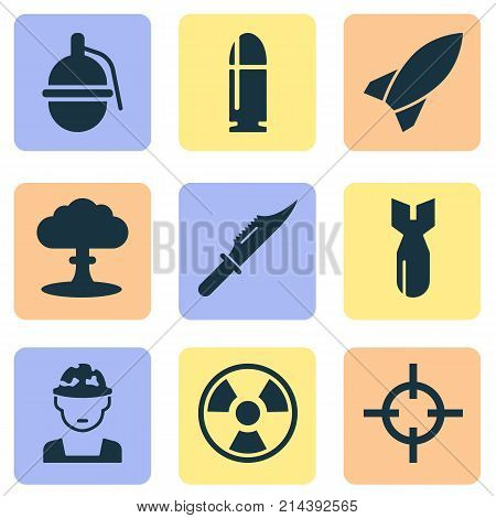 Army Icons Set With Rocket, Cutter, Slug And Other Missile Elements. Isolated Vector Illustration Army Icons.