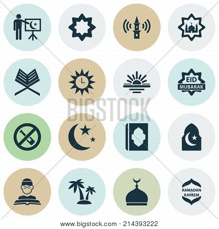 Ramadan Icons Set With Holy Book, Celebration, Nacht And Other Masjid Elements. Isolated Vector Illustration Ramadan Icons.