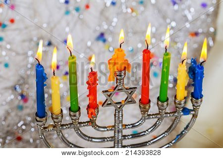 Jewish holiday hannukah symbols - menorah. Copy space background.