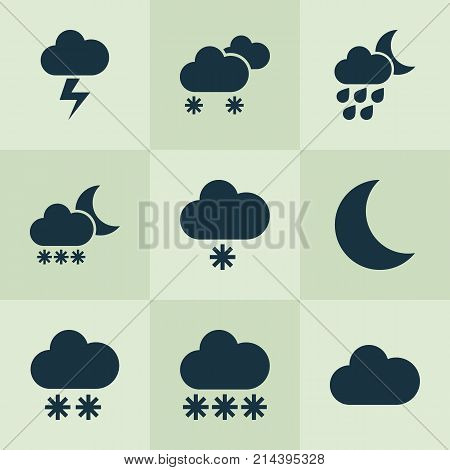 Climate Icons Set With Snowflake, Snowfall, Lightning And Other Night Elements. Isolated Vector Illustration Climate Icons.
