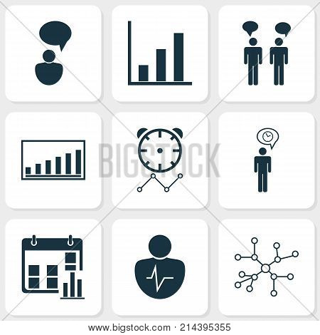 Management Icons Set With Bar Chart, Personal Character, Reminder And Other Company Statistics Elements. Isolated Vector Illustration Management Icons.