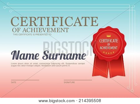 Blank Certified Border Template Vector Illustration. EPS 10