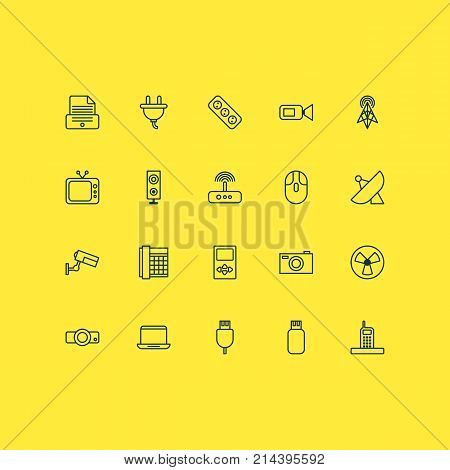Hardware Icons Set With Socket, Printer, Presentation And Other Switch Elements. Isolated Vector Illustration Hardware Icons.