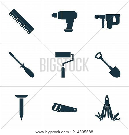 Handtools Icons Set With Digging, Ruler, Multifunctional Pocket And Other Handsaw Elements. Isolated Vector Illustration Handtools Icons.