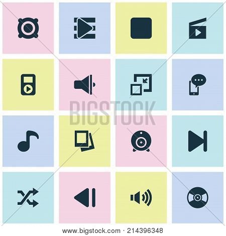 Music Icons Set With Previous, Album, Bullhorn And Other Finish Elements. Isolated Vector Illustration Music Icons.