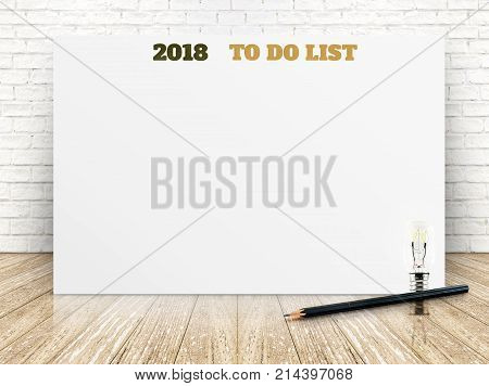 2018 To Do List On White Paper Poster On White Marble Room Wall,business Presentation Mock Up For Ad