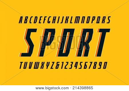 Decorative narrow italic sans serif font in the sport style. Letters and numbers for logo and title design. Print on yellow background
